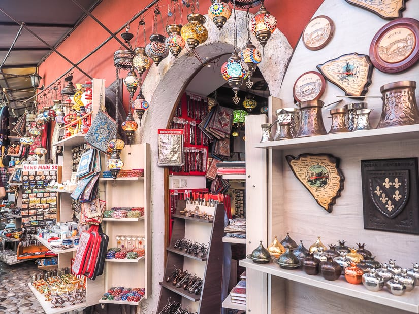 A shop of souvenirs in the Mostar Old City Market
