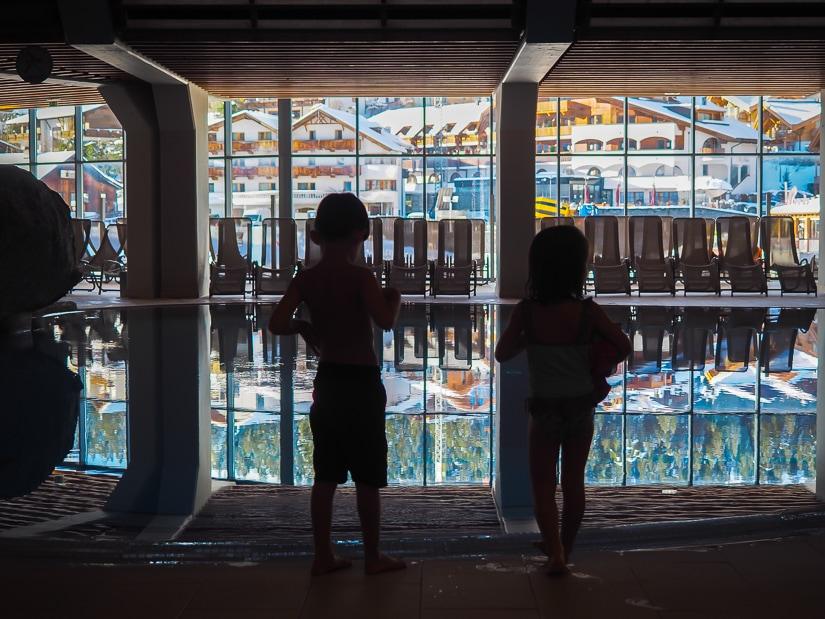 Our kids in Olympiabad swimming pool (Kongreßzentrum Seefeld) in Seefeld