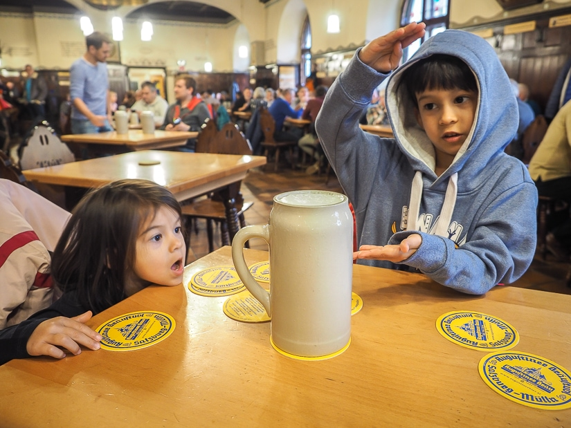 Visiting a beer hall in Austria with children