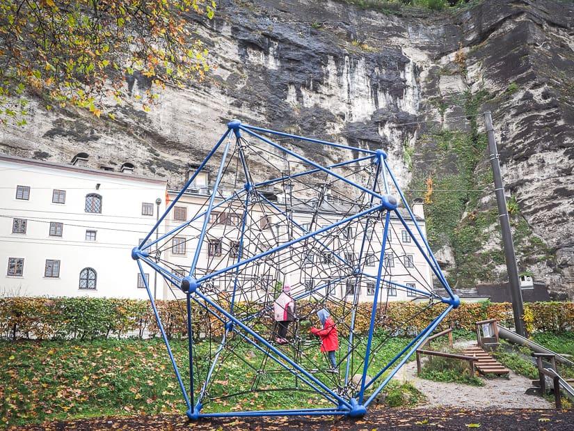 Spielplatz Franz-Josef-Kai riverside playground in Salzburg