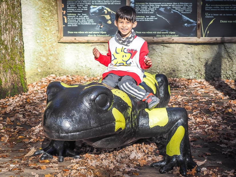 My son riding on a fire salamander statue at Salzburg Zoo