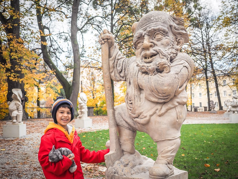 Visiting the unusual statues at Mirabell Palace (Schloss Mirabell) with kids