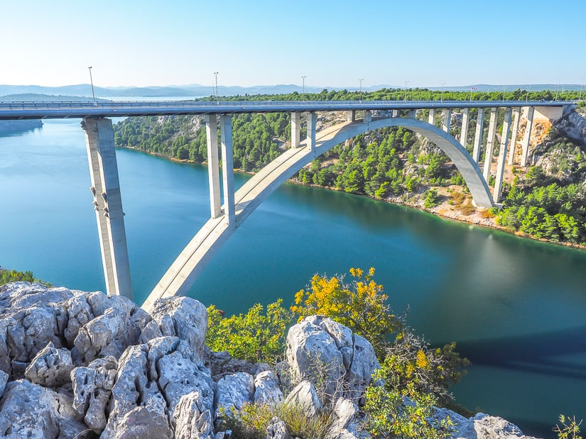 Sibenik Bridge (Krka Bridge) viewed from Krka Rest Stop