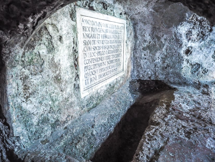 A catacomb at St. Peter's cemetery (Petersfriedhof) in Salzburg, which we visited with our kids