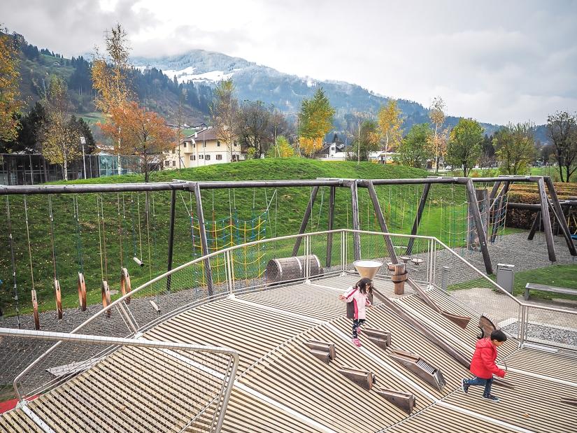 Our kids playing in the playground at Swarovski Kristallwelten