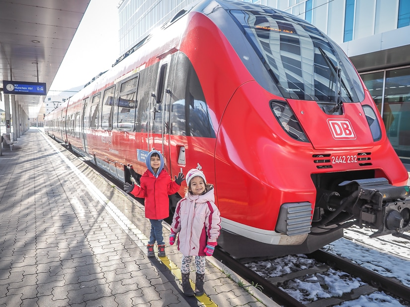 Taking the train from Innsbruck to Seefeld with kids