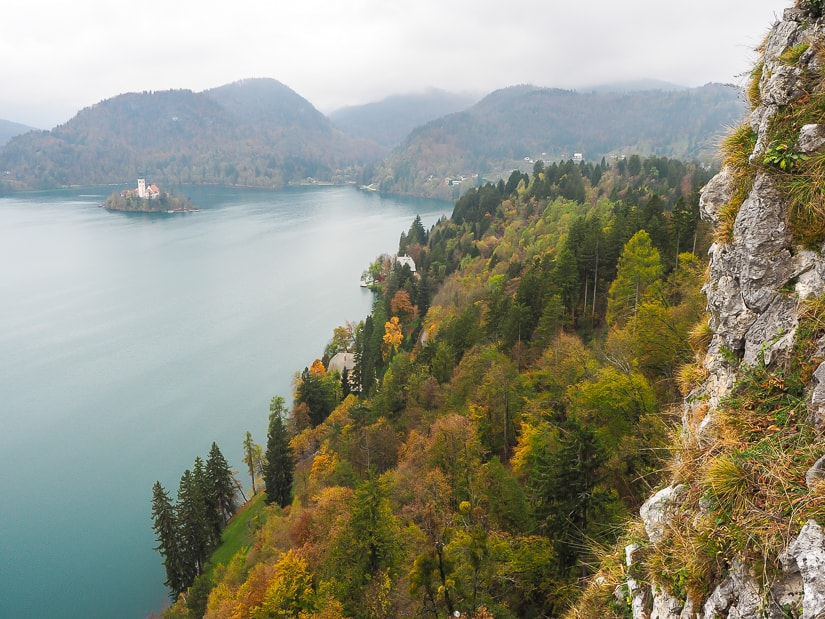 View of Lake Bled from Bled Castle in early November