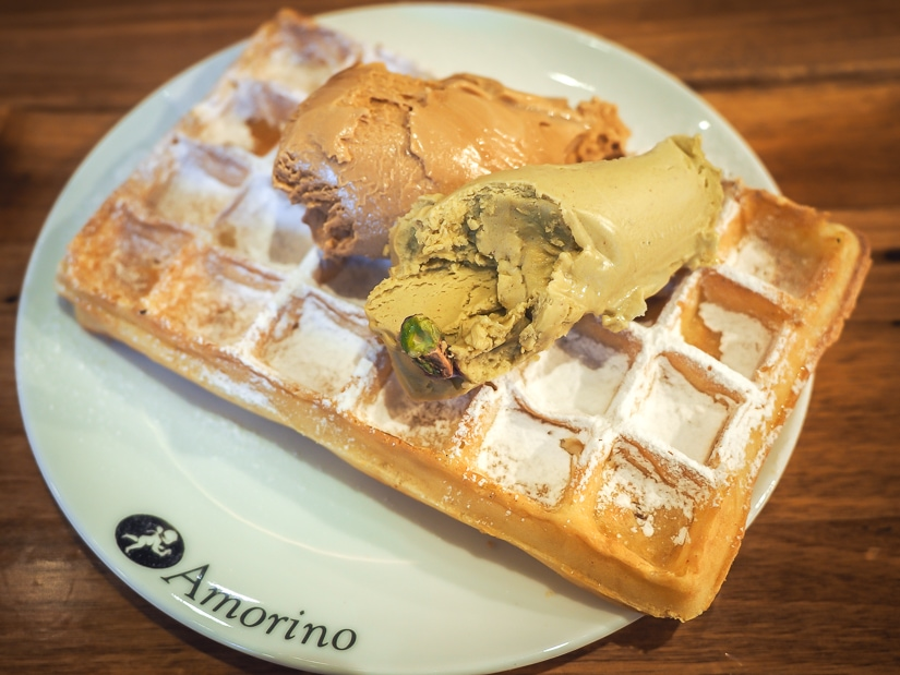 Waffles at Amorino Cafe Prague