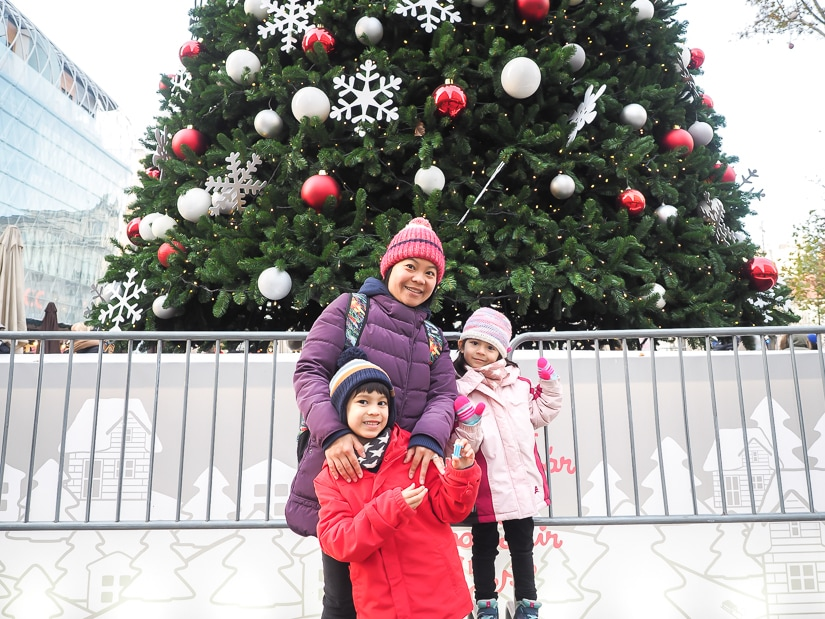 My wife and kids at a Christmas market in Budapest