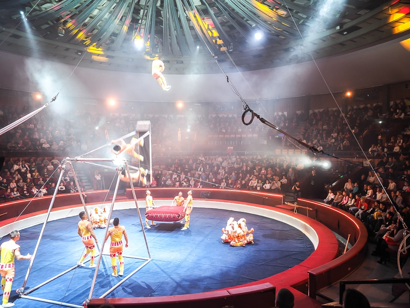 Acrobatics performance at Capital Circus of Budapest