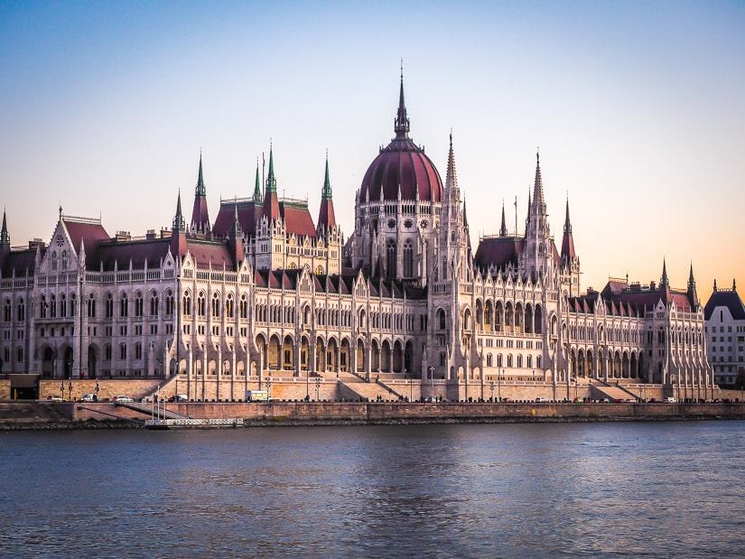 Hungarian Parliament Building in Budapest viewed from our sunset river cruise