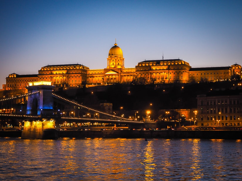 Buda Castle and Danube river at sunset