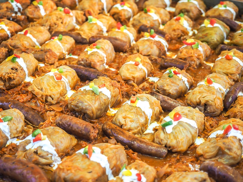 Cabbage rolls in a Budapest Christmas Market