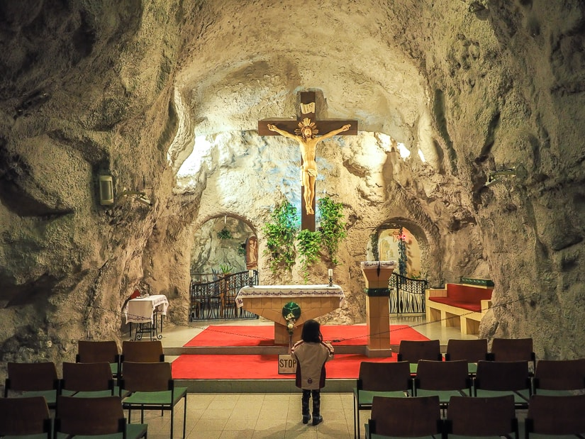 Cave chapel at Gellert Hill in Budapest with kids