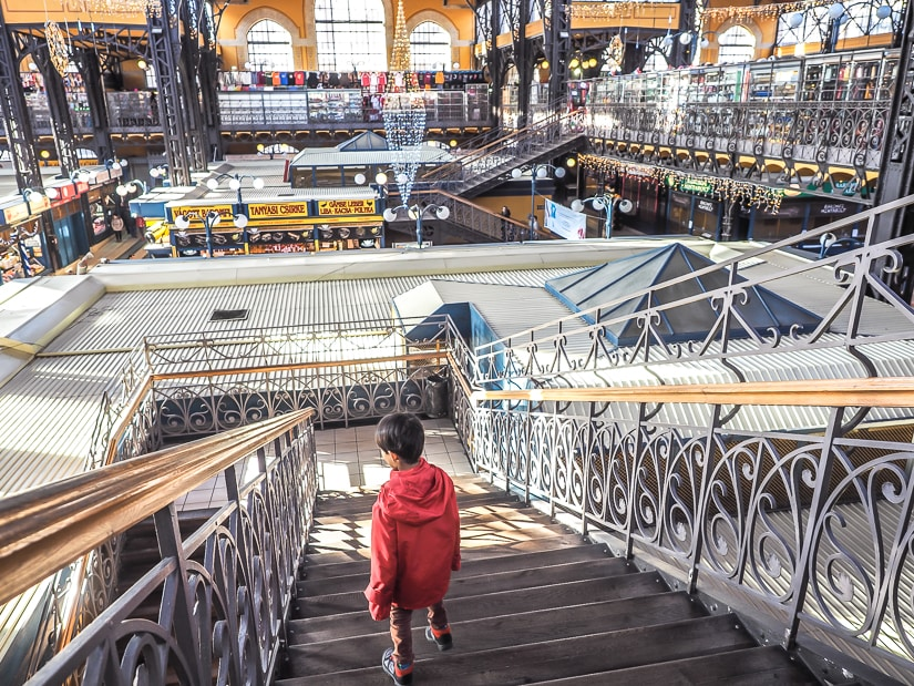 My son going down the stairs at Great Market Hall
