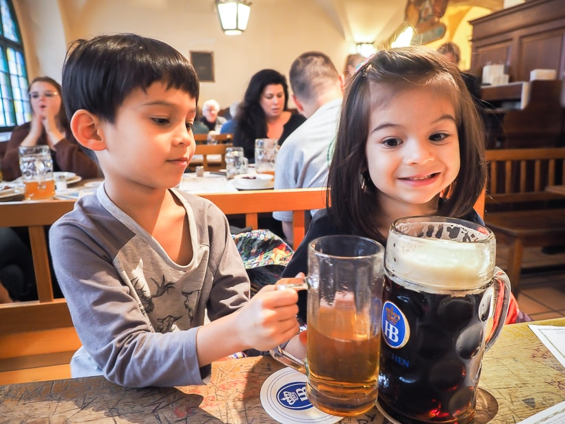 Visiting a beer hall in Munich with kids