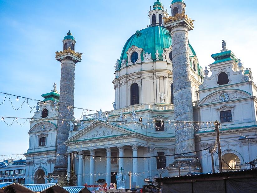 Karlskirche Catedral and Karlsplatz Christmas Market, one of the best Christmas Markets in Vienna for children