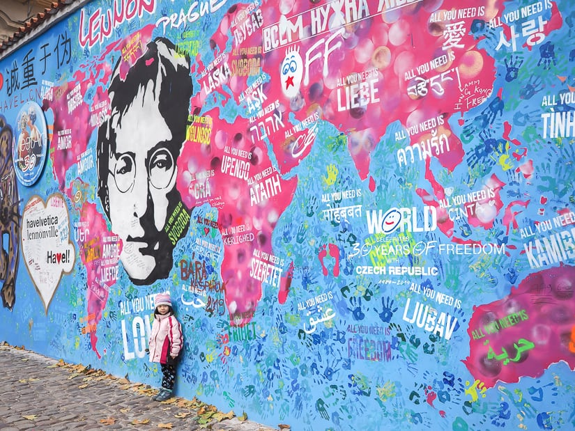 Visiting Lennon Wall in Prague with kids