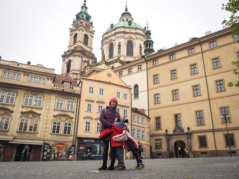 My wife and kids at Lesser Town Square in Prague