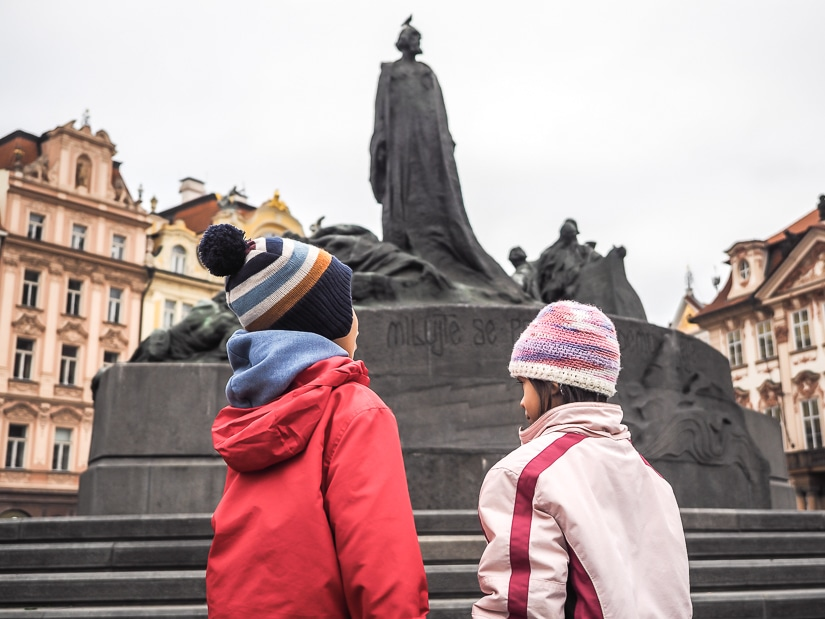 Our kids in front of the Jan Hus monument in Prague's Old Town Square