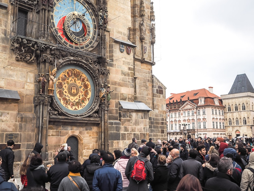 Crowd of people in front of Prague Astronomical Clock