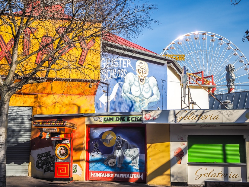 Prater amusement park with kids in winter