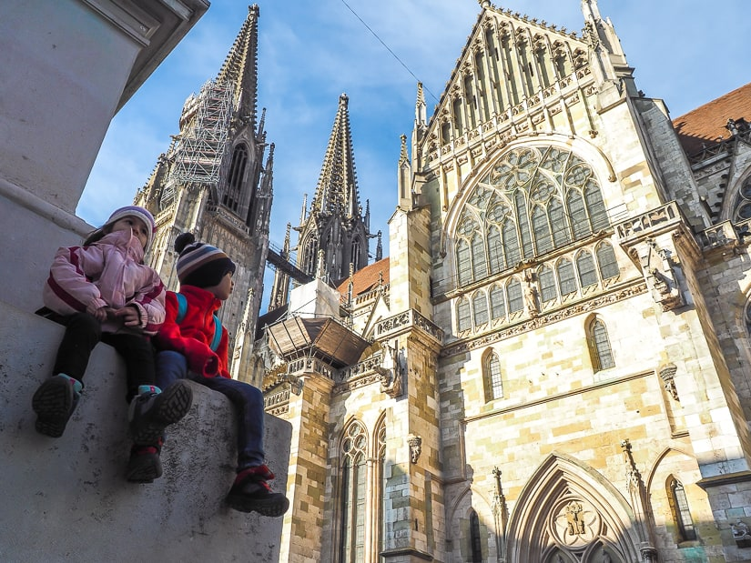 Visiting Regensberg with kids: our kids overlooking the Regensberg Cathedral