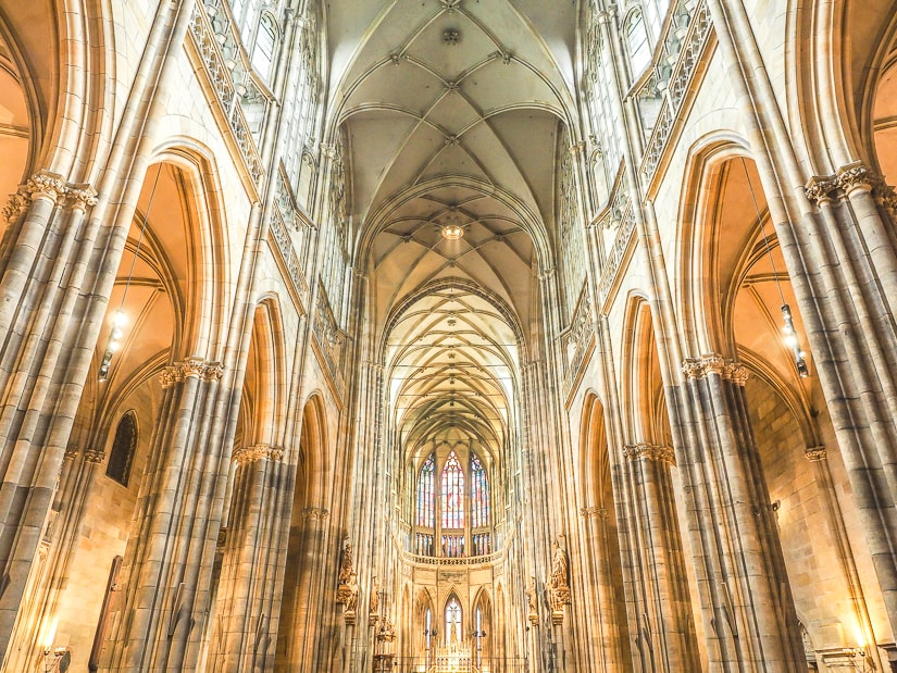 Interior of St. Vitus Cathedral in Prague Castle