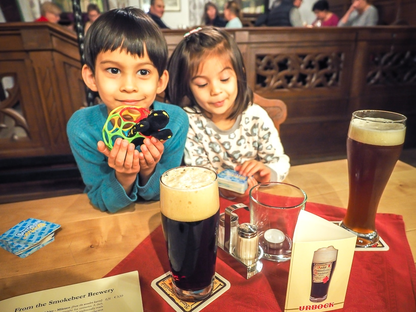 Our kids in Schlenkerla beer hall, Bamberg