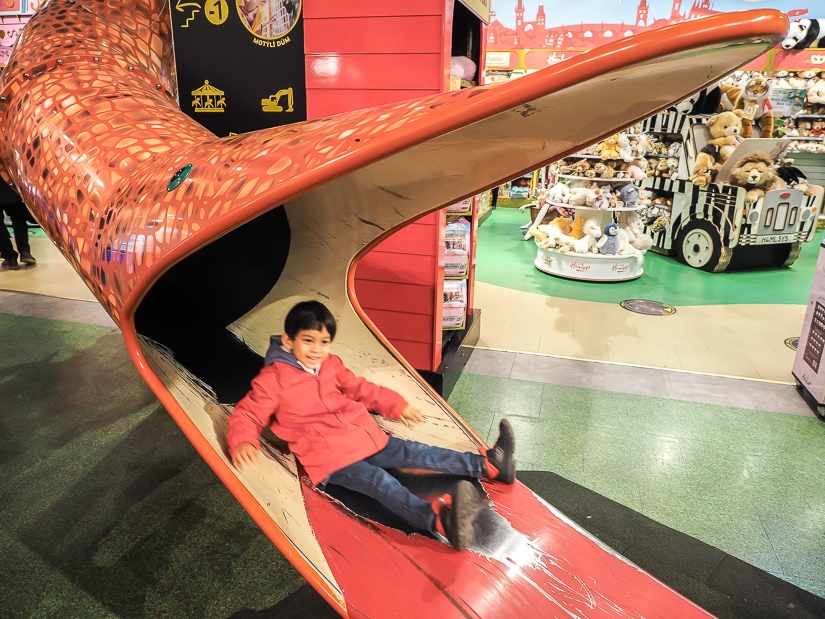 Snake slide at Hamleys toy store in Prague