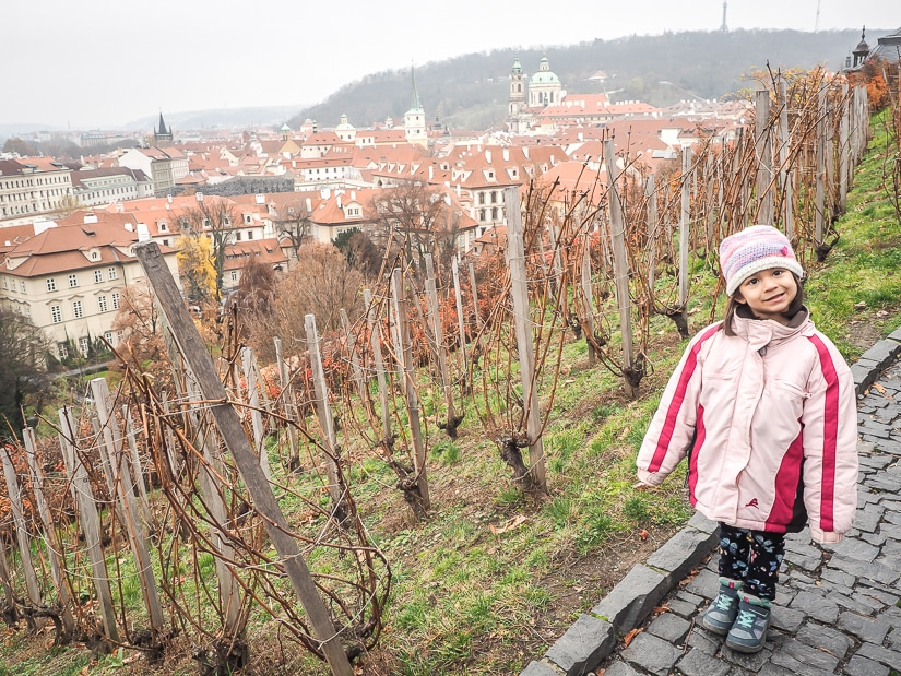 My daughter at St. Wenceslas Vineyard beside Prague Castle