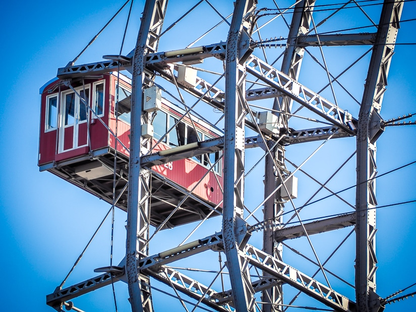 Side shot of one gondola on the Wiener Riesenrad (Vienna Giant Ferris wheel). Riding this would even be suitable if you are visiting Vienna with a toddler!