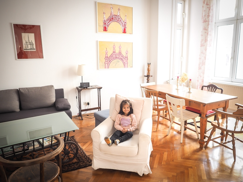 My daughter in our family-friendly apartment in Vienna