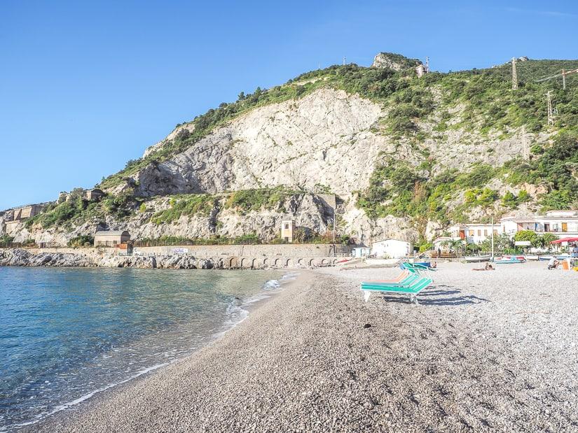 A sandy, empty beach shot of Erchie Beach