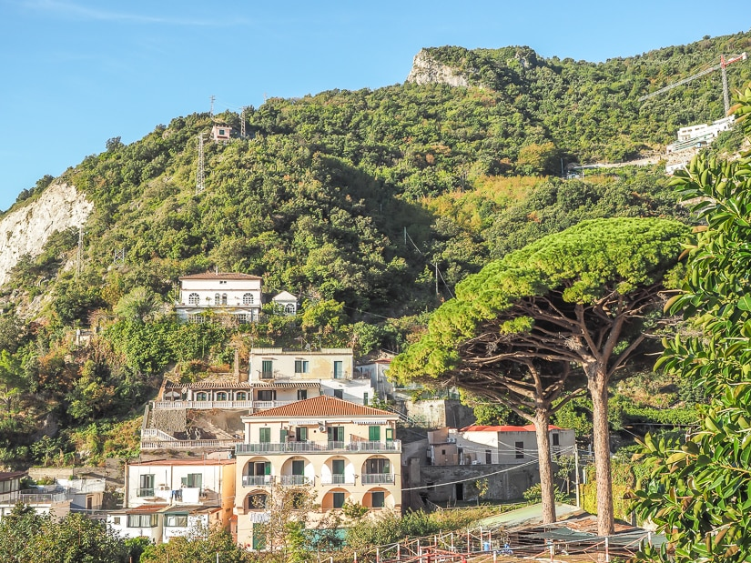 View of houses backed by hills in Erchie, Amalfi Coast
