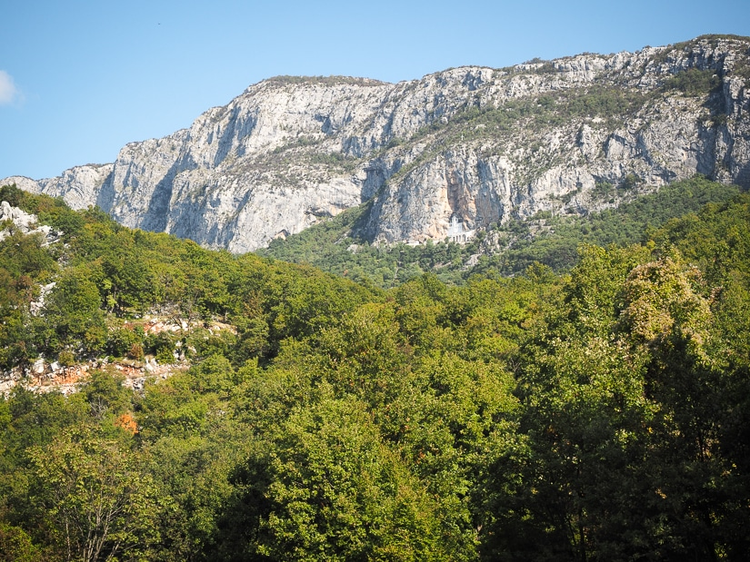 View of Ostrog Monastery from the hiking trail