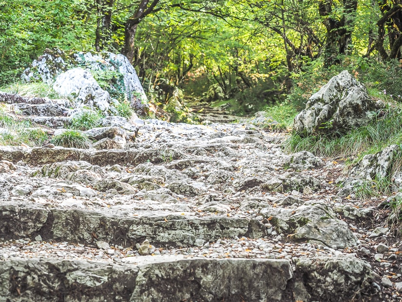 Rocky walking trail from Ostrog Lower Monastery to Upper Monastery