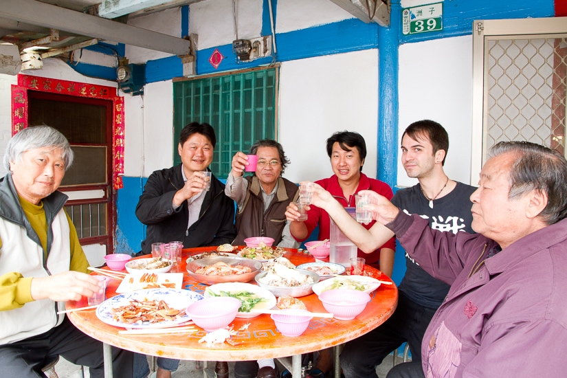 Me having a Lunar New Year's Eve meal in Taiwan with my Taiwanese relatives