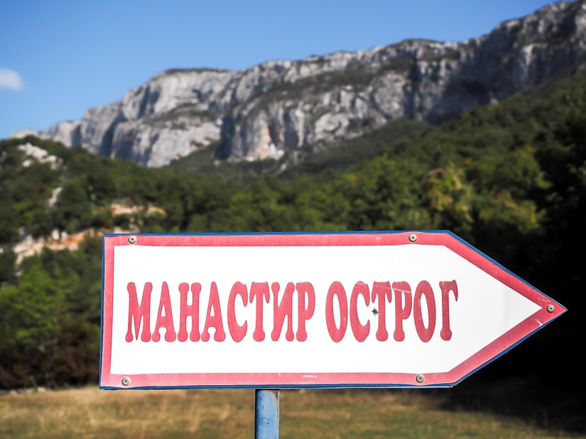 Sign point how to get to Ostrog Monastery