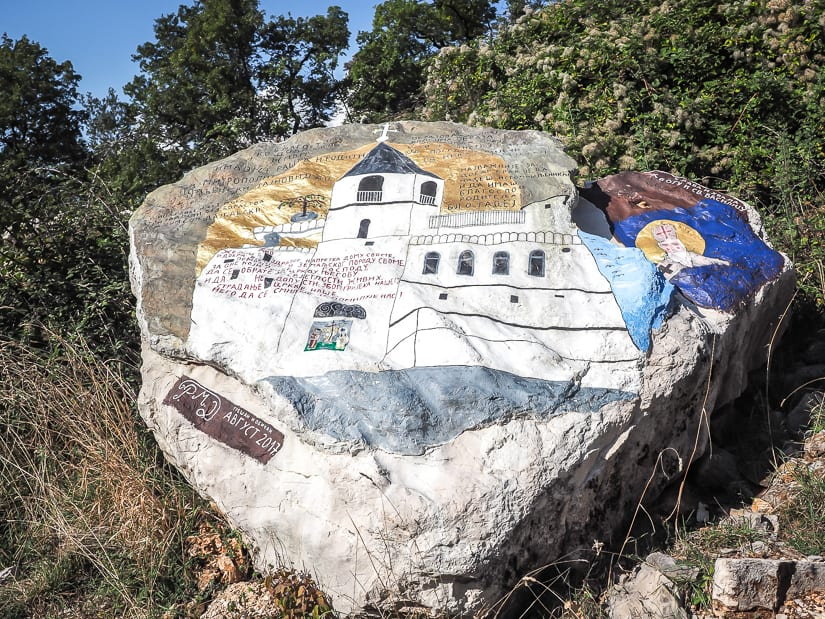 Painted stone on the hike to Ostrog Monastery