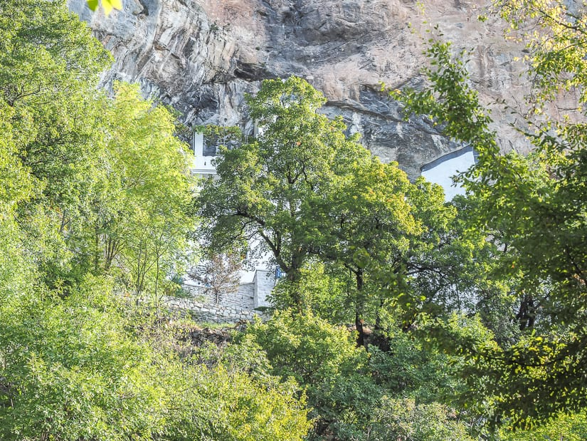 View of Ostrog Monastery obstructed by trees