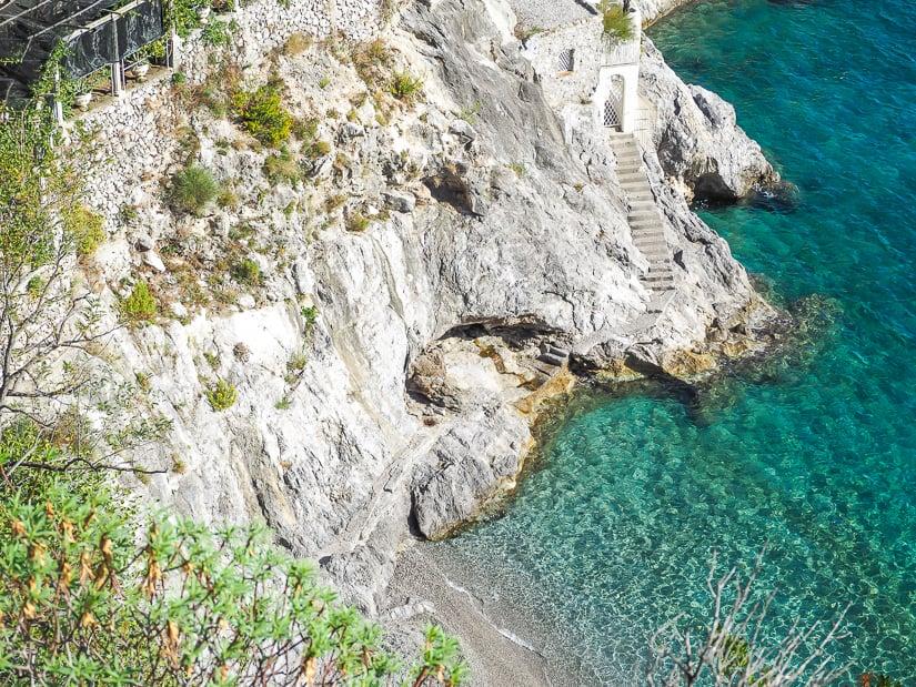 Staircase to a private beach near Erchie and Cetara