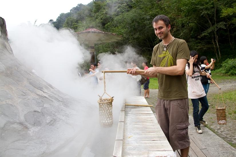 Me cooking hot spring eggs at Jiuzhize hot spring near Taipingshan, Yilan