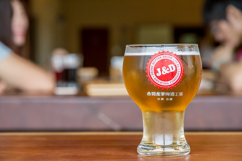 Beer on table at Jim & Dad's brewery in Yilan, one of the best craft beers in Taiwan