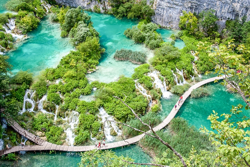 Aerial view of colorful water at Plitvice Lakes National Park in Croatia