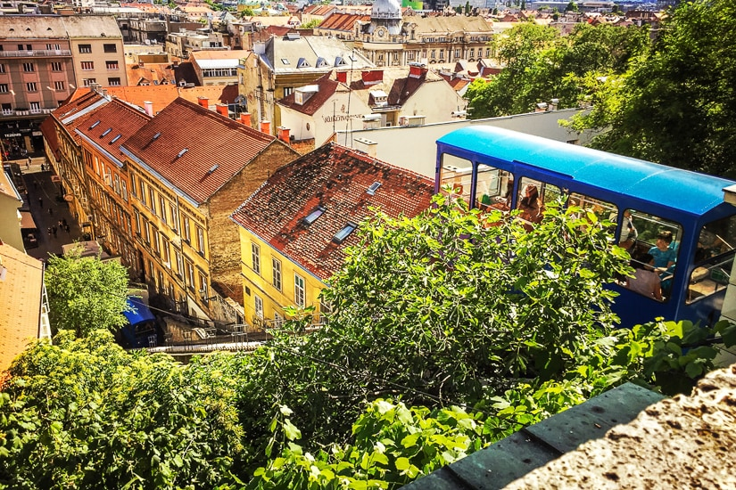 Riding the funicular in Zagreb with kids