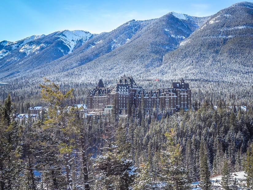 View of Fairmont Banff Springs Hotel from Surprise Corner in Banff
