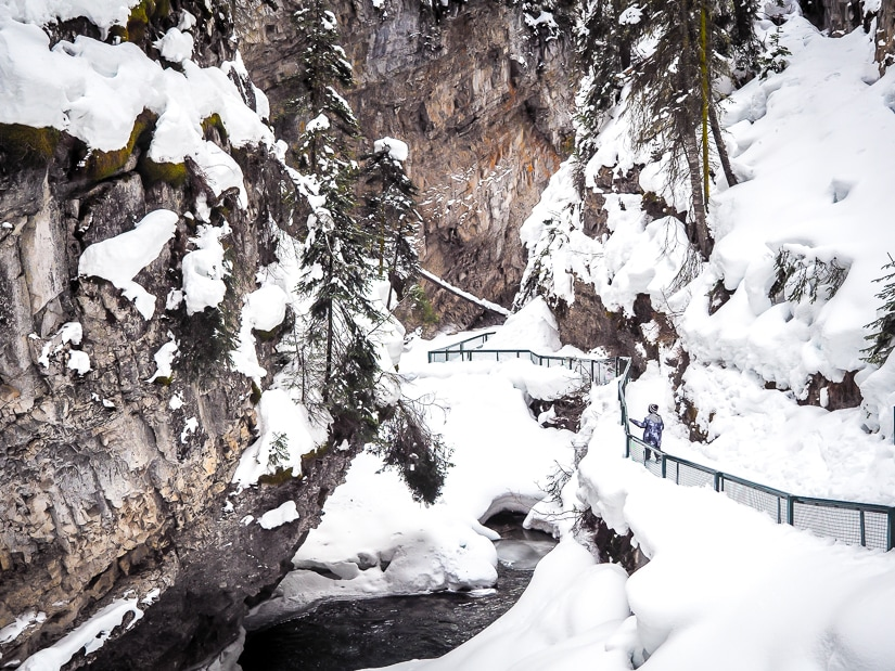 Hiking in Johnston Canyon in winter