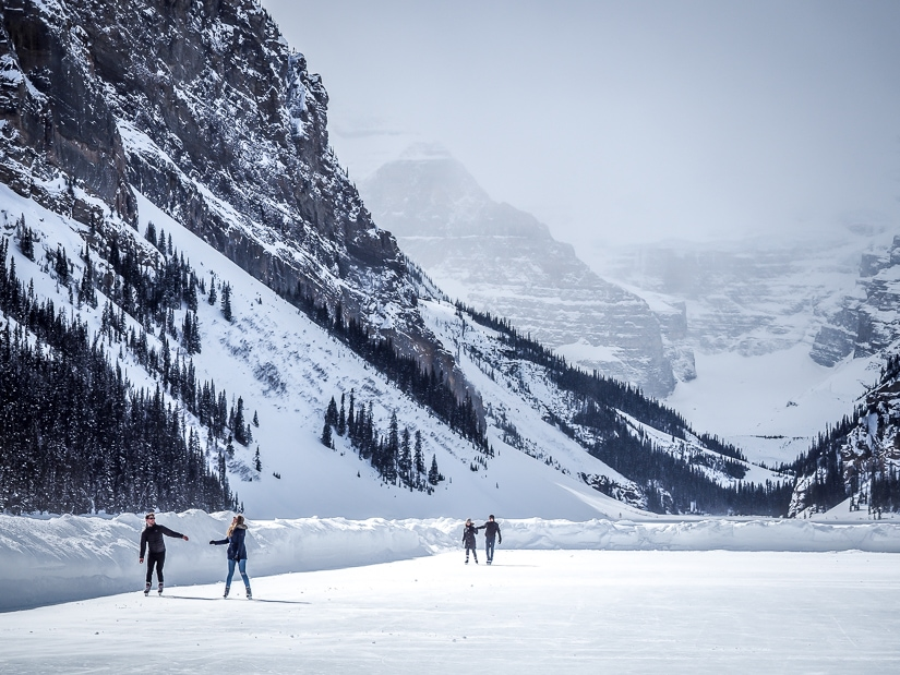 Ice skating on Lake Louise in Banff National Park