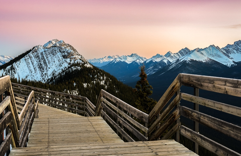 Scenic boardwork at the top of the Banff Gondola on Sulfur Mountain